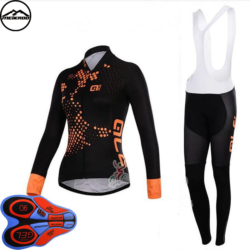 2018 New Spring Pro Women Cycling Jersey Bib Pants Set /Long Sleeve MTB Bike Wear Bicycle Clothes Womens Cycling Clothing 3d silicone cube 2012 team long sleeve autumn bib cycling wear clothes bicycle bike riding cycling jerseys bib pants set