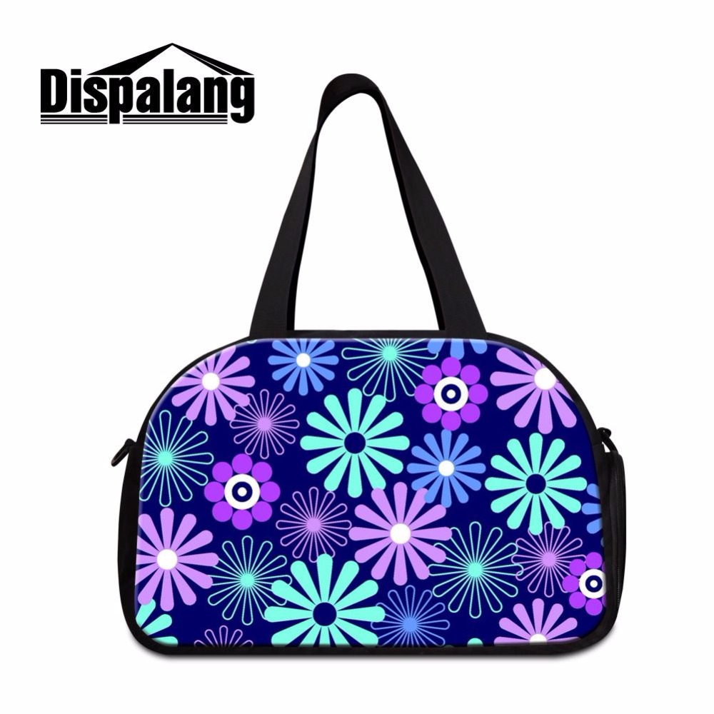 Dispalang fashion tote travel bag flower prints women luggage duffel bag with indenpent shoes unit medium weekend bag diaper bag