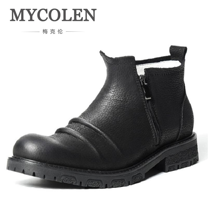 MYCOLEN Men Boots Round Toe Warm Winter Black Mens Winter Ankle Boots Soft Leather Zip Fashion Winter Shoes Bottes Homme