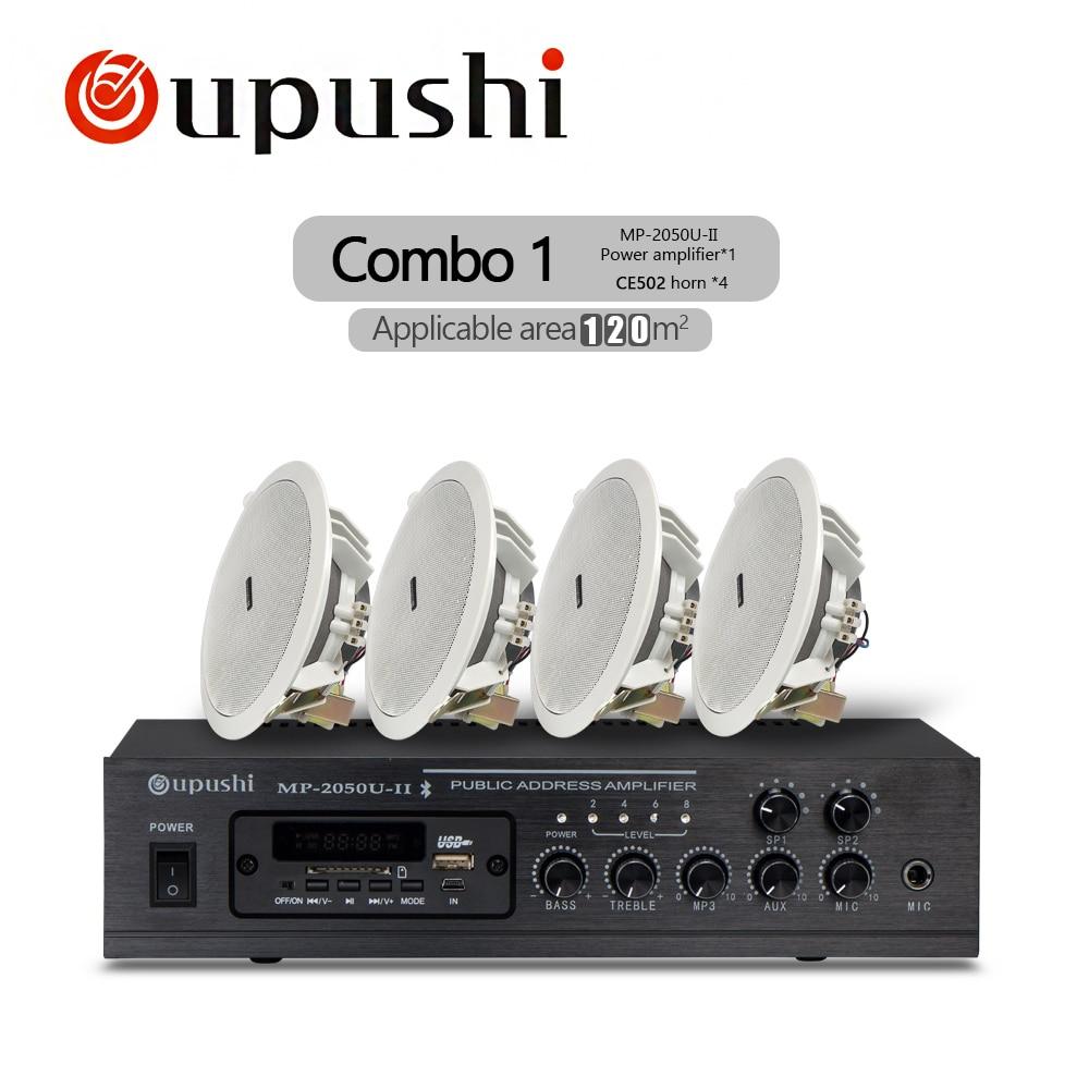 Oupushi Startseite Musik System 100 V Bluetooth Verstärker Withe Decke lautsprecher, Wand lautsprecher 60 W Fernbedienung Audio Sound