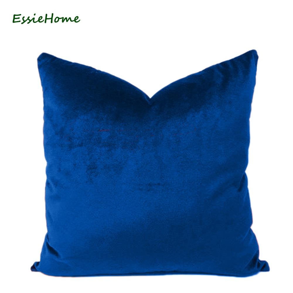 essie home luxury glossy silk velvet cushion pillow royal blue velvet cushion cover pillow case lumbar pillow case velvet