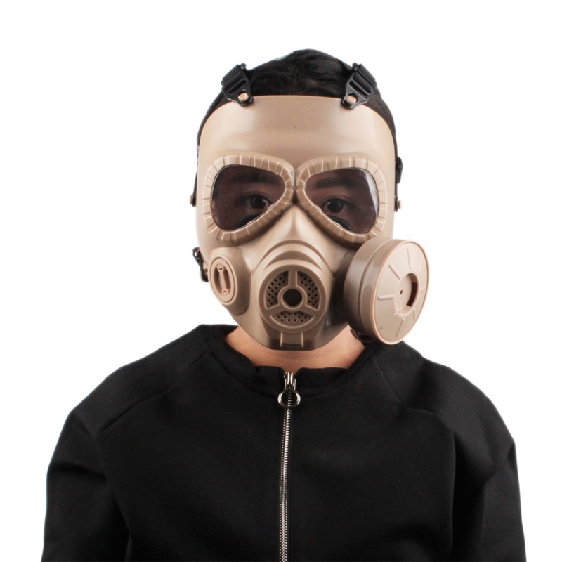 Single Fan M04 Double Gas Mask CS Filter Paintball Tactical Military Army Transpiration Facial Mask Guard Shooting Accessories