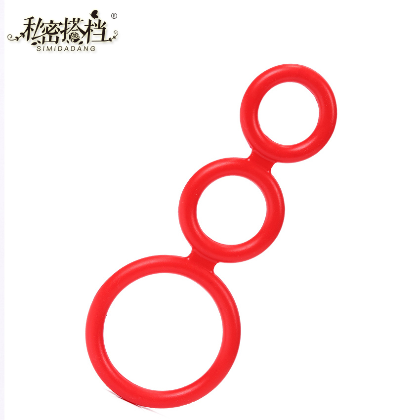 1PC Silicone Three Cock Cages Time Delay Penis Ring Premature Ejaculation Rings Adult Products Male Sex Toys