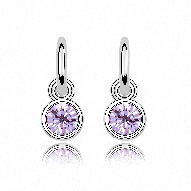 4 Colors real Austrian crystals 18K White Gold Plated fashion dangle earrings for women New Sale Hot 90447violet
