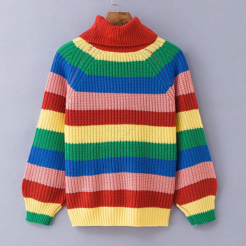 Simenual Rainbow turtleneck sweaters women winter 18 jumpers knitted clothes fashion striped oversized pullover female sale 9