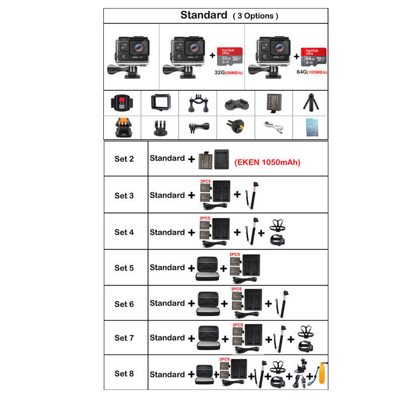 Eken H8R плюс Ultra HD 4 к Wi Fi действие камера 1080 p/60fps 720 P/120FPS мини Cam 30 м водостойкий шлем спортивный цифровой видеорекордер Go Extreme профессиональная камера