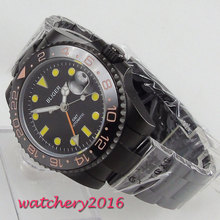 Bliger Automatic Watch PVD Deployment Clasp GMT Sapphire Glass Super LUME Black Dial Mechanical Watches relogio masculino Gift 43mm parnis black dial sapphire glass luminous pvd coated miyota mechanical watches relogio masculino gift automatic men s watch