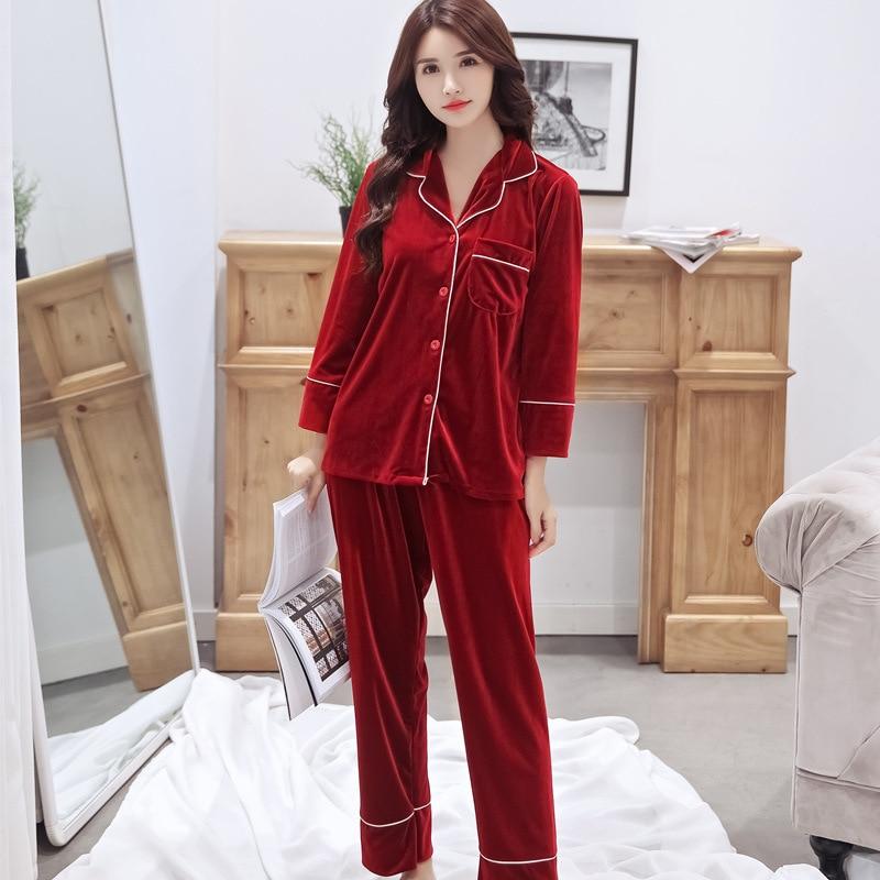 Gold velvet   pajamas     set   solid two piece   set   home suit   pajamas   women