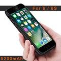 Batería de reserva externa power bank cargador móvil bolsas móvil casos cubierta de la caja de batería de 5200 mah para iphone 6