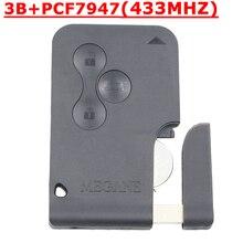 Envío Gratis (5 unids/lote) 3 botón Inteligente de Coches para Renault Megane llave Inteligente con Clave 433 MHZ PCf7947 chip y de Emergencia