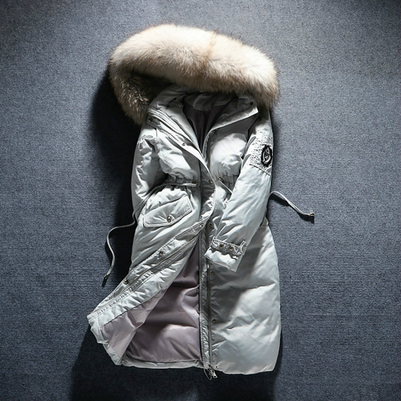 OLN Winter Womens Down Jackets Fashion Outerwear Thicken Real Raccoon Fur Hood Warm Female Down Coat Luxury Parka Long Overcoat ...
