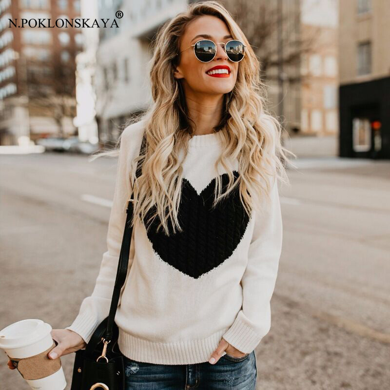 N.POKLONSKAYA Korean Women Casual Pullover Sweater Autumn Winter Woman Sweaters Christmas Knitted Jumper Pull 2018 Sweter Mujer
