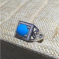 Бесплатная доставка голубая бирюза кольцо стерлингового серебра 925 пробы Оптовые Fine jewelry Бирюзовый человек кольцо 8*10 мм