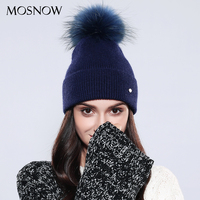 MOSNOW Winter Hats For Women Elegant Autumn Winter 2017 Raccoon Fur Pom Poms Wool Solid Knitted