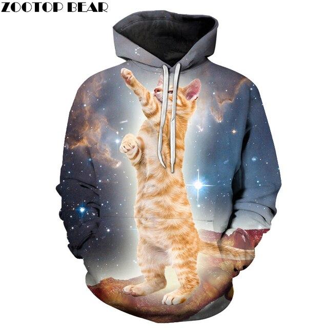 74361f1a8 Galáxia Gato Impresso Hoodies Marca 3D Dos Homens Moletom com capuz da  Camisola de Outono Novidade