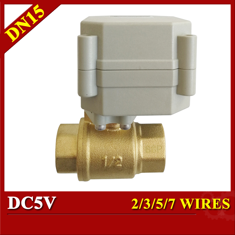 Brass 1/2 DN15 Electric control Valve 2/3/5/7 wires DC5V motorized ball valve metal gear on/off 5 sec for water automatic tsai fan electric ball valve 1 2 dc 12v 24v 2 3 5 7 wires ss304 valve dn15 motorized ball valve for water control hvac systems