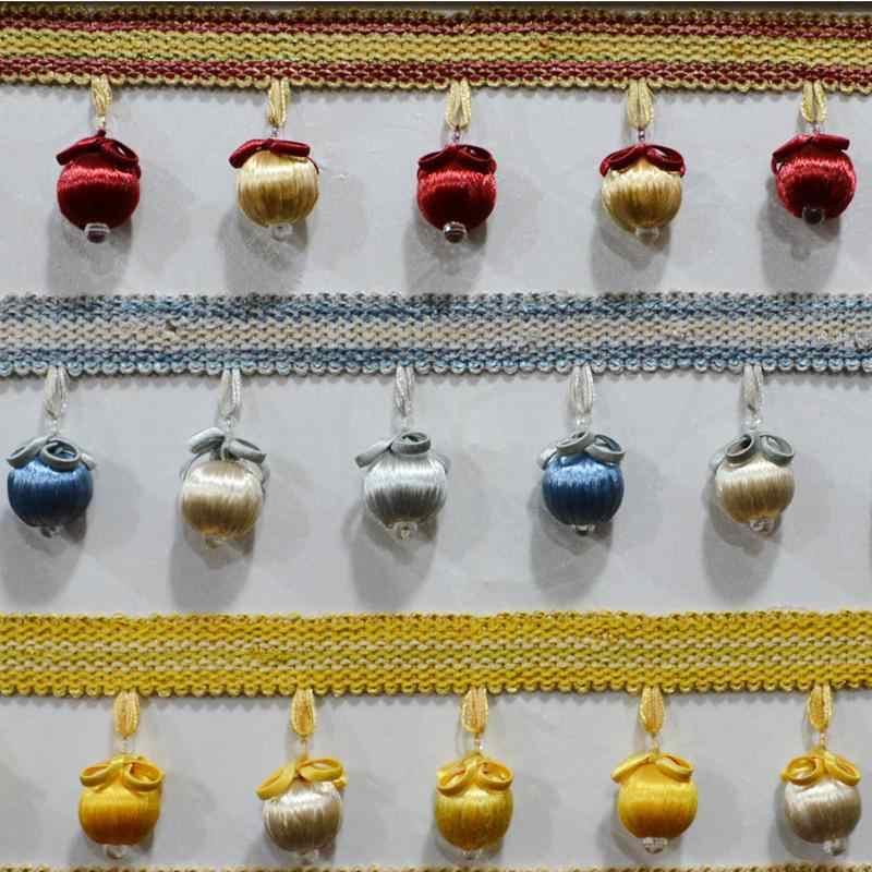 12 yard/lot Topu Boncuklu Püsküller Asılı Perde Dantel Trim Diy Dikiş Abartı Saçaklar Ev Tekstili Dekor Ponpon Bezi soie