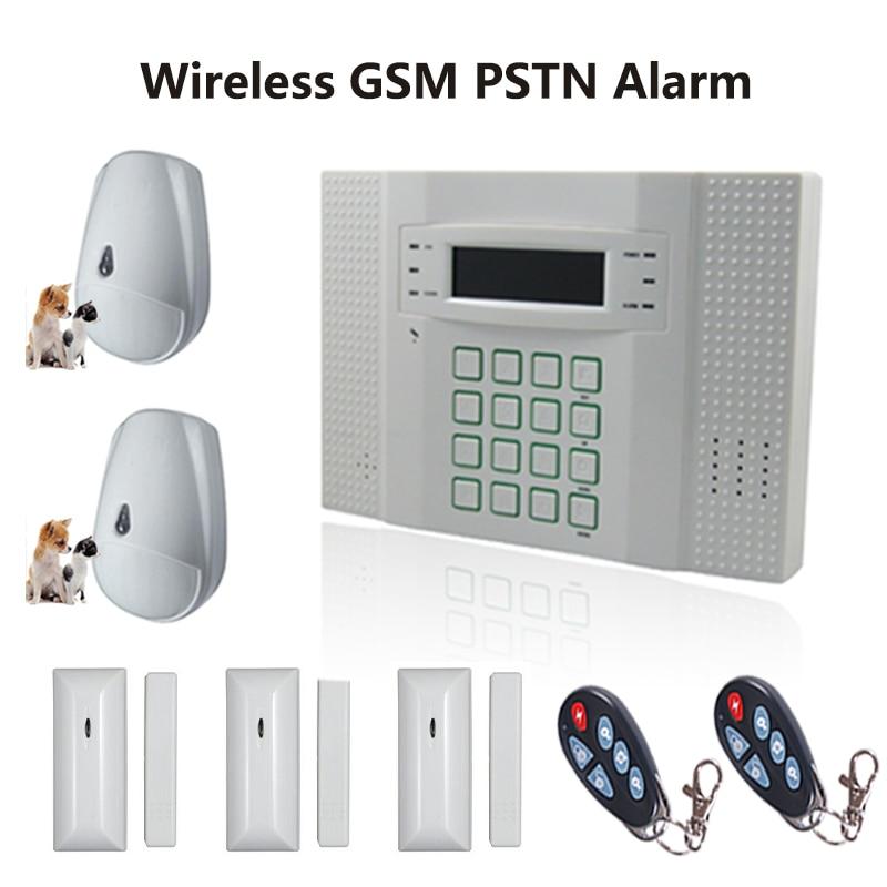 Écran lcd 433 mhz GSM + PSTN Anti-voleur Alarme de Sécurité Du Système D'accueil avec Pet Immunitaire PIR Capteur et Contact magnétique, Livraison Gratuite