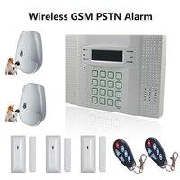 ЖК дисплей Дисплей 433 мГц GSM + PSTN анти вор сигнализации Системы безопасности дома с ПЭТ Иммунной PIR Сенсор и магнитный контакт, бесплатная дос