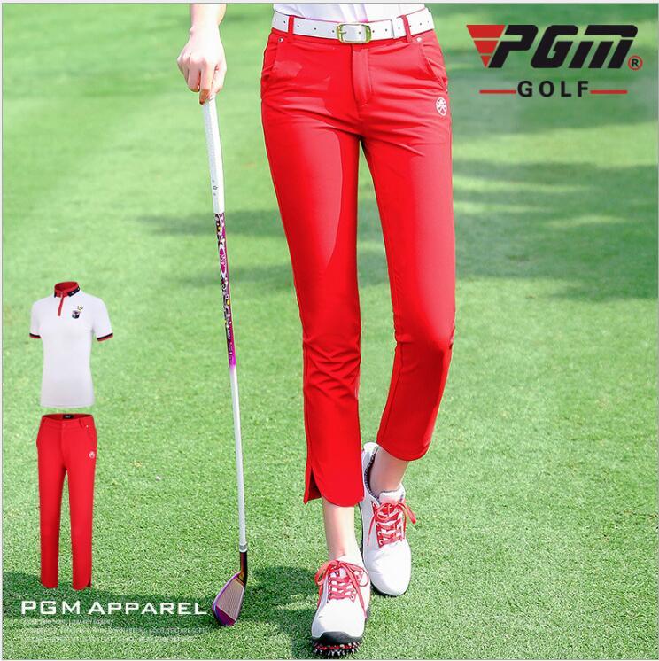 2019 new PGM Ladies golf pants women's Comfortable breathable sportswear summer sports high-elastic slim red capris pants