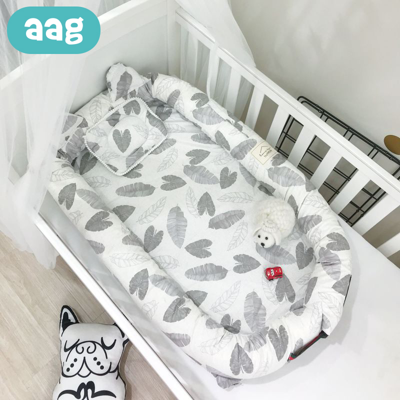 AAG Portable Baby Nest Bed Crib Infant Cotton All round Nursery Travel Folding Bed With Pillow