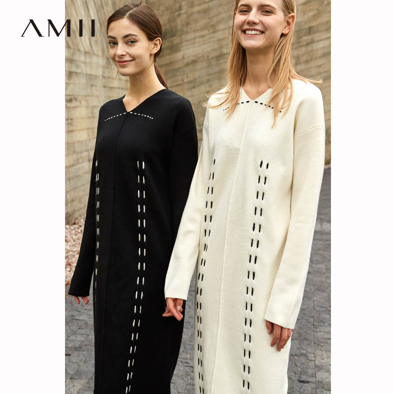 AMII Minimalist Original Designer Wool Black Knitted Dress 2018 New Loose V neck Striped Causal Female