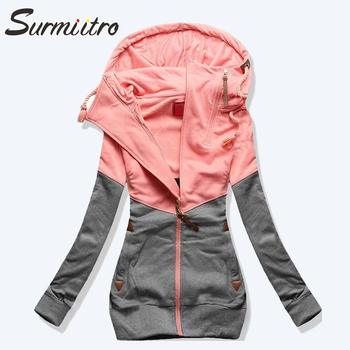 Surmiitro Spring Women Jacket 2019 Autumn Winter Oversized Hooded Sweatshirt Zipper Hoodies Plus Size Coat Female Sweat Femme