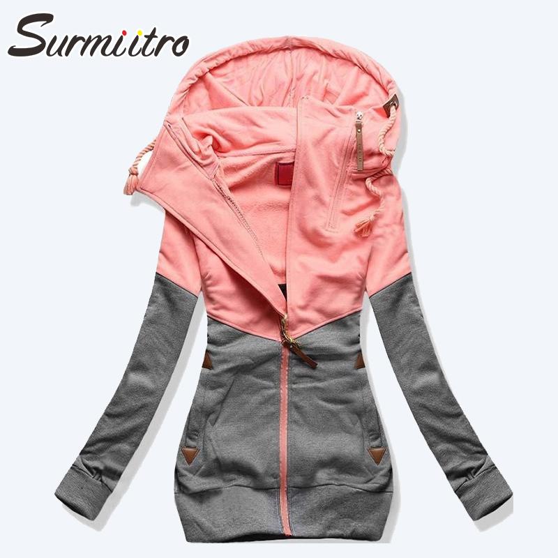 Surmiitro Spring Women Jacket 2019 Autumn Winter Oversized Hooded Sweatshirt Zipper Hoodies Plus Size Coat Female Sweat Femme