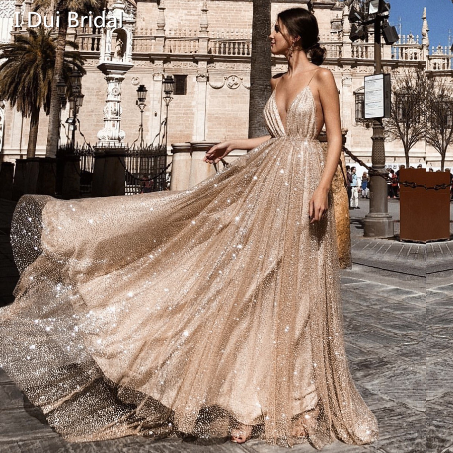 Sexy Sparkle   Evening     Dress   Backless Deep V Shinny Tulle Neck Gold A Line Special Occasion Gowns