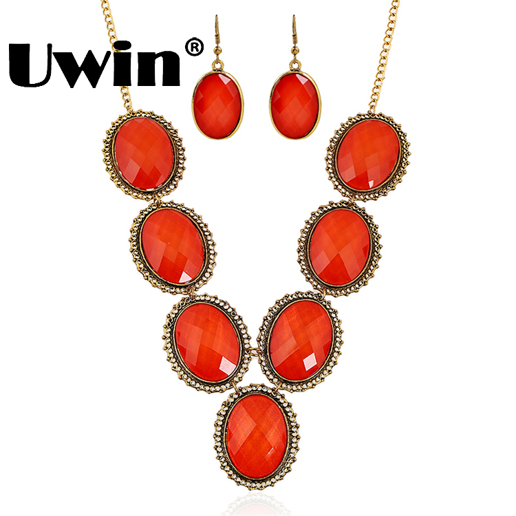 2016 Big Stone Design Red Color Lucky Necklace Sets With Earrings Fashion Sweater Necklace For Ladies