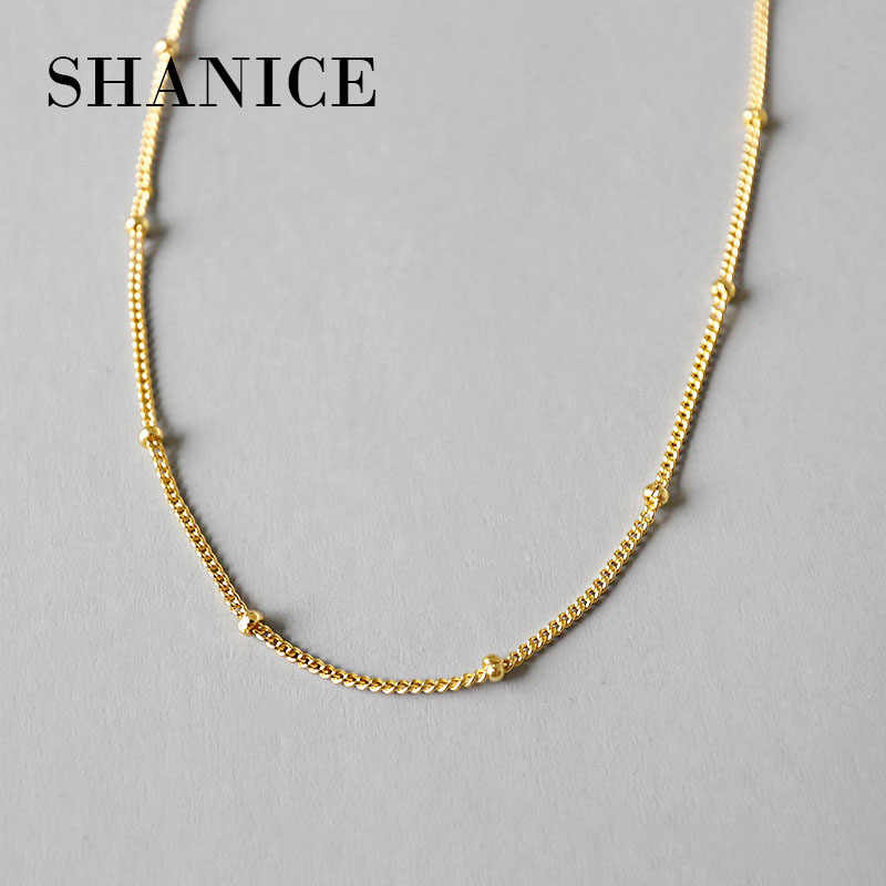 SHANICE Sterling Silver Necklace Women 925 Silver Chain Beads Chocker Three Gold Color 1mm Thinkness Silver Necklace Jewelry 925