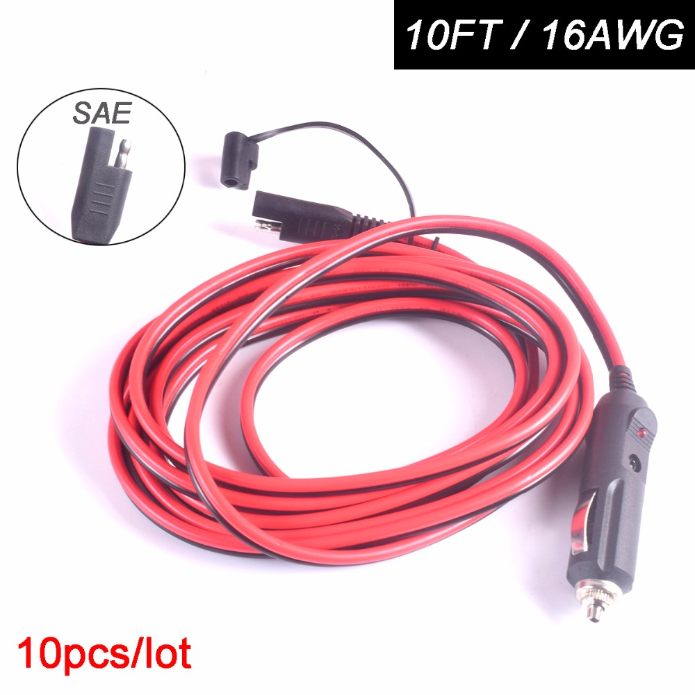 10pcs Car Cigarette Lighter Plug to SAE Quick Disconnect Adapter Extension Charging Cable 10FT 15A for