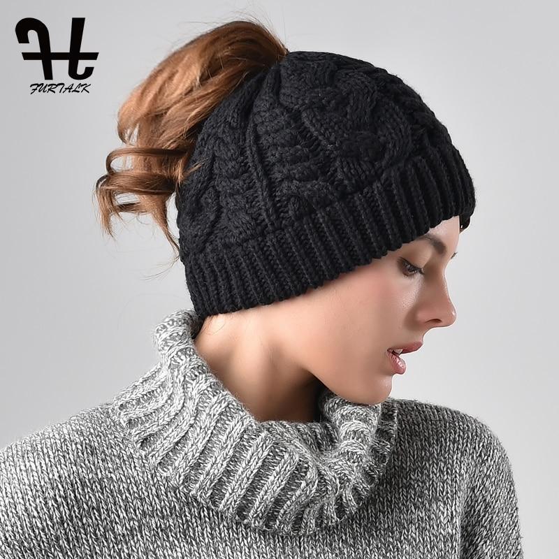 FURTALK Kitted   Beanie   Hat Winter Women Warm Black   Skullies     Beanies   Girls Winter Outdoor Runner Messy Bun Ponytail Hat Cap 2019