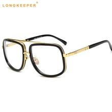 44e6d0a43 2018 إطارات نظارات طبية الرجال واضح عدسة النظارات النساء عالية الجودة أسود  مربع الذكور مشهد النظارات إطار longkeeper