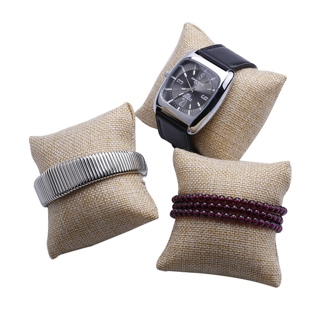 2016 12pcs Small Linen Bracelet Watch Pillow Jewelry Displays 8cm*8cm