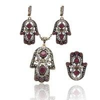 القديمة الأقراط الفاخرة النساء الزنبق زهرة اليدوية مجوهرات التركية الجوف بالم حلق العتيقة لون الذهب كريستال بيجو