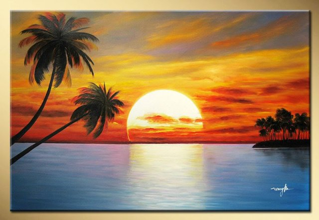 Art works hand-painted The sun rising coconut trees decorative landscape  oil painting on canvas - Art Works Hand Painted The Sun Rising Coconut Trees Decorative