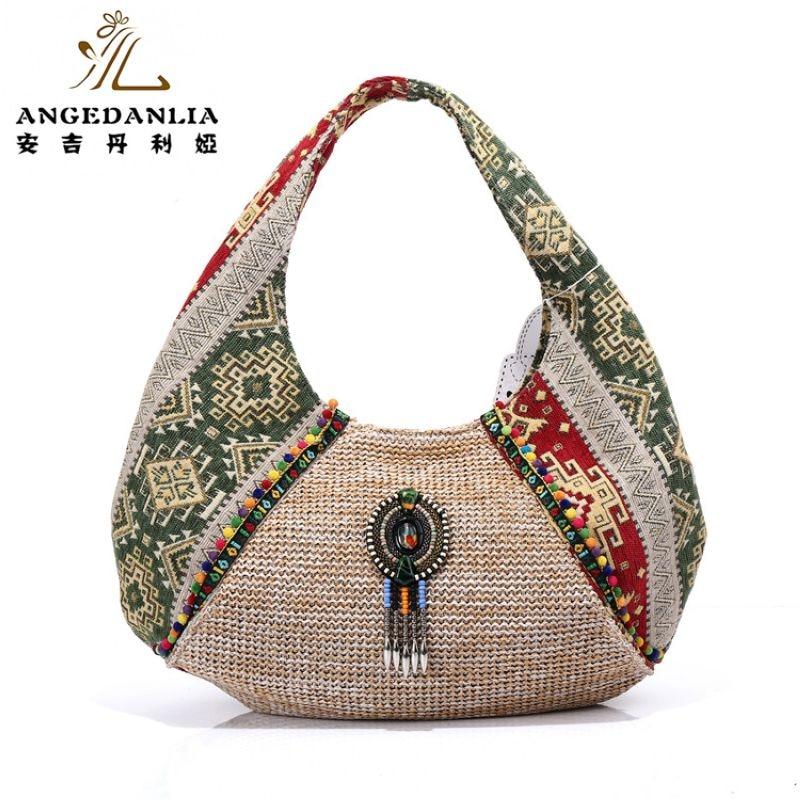 Женские богемные Half Moon Бохо Сумочка Дамы Красочные Бисероплетение сумка хлопок Ткань холст Национальный этнические сумки ведро