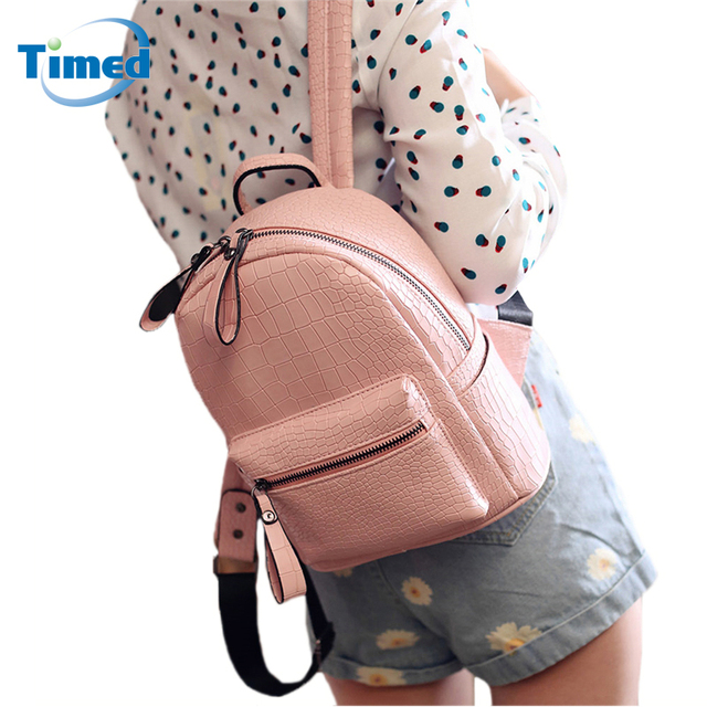 2017 New Fashion Alligator Girls Backpack Preppy Style PU Leather School Bags Travelling Shoulder Bag Crocodile Casual Backbag