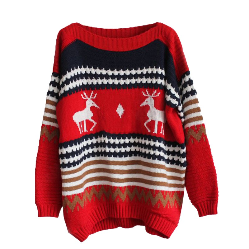 Girls Christmas Sweater Elk Deer Print Casual Sweaters Loose Long Sleeve Knitted Pullover Jumper Tops W1