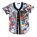 Personagem de Anime Pokemon 3D Impressão Botões Homens Homme Jérsei De Basebol Streetwear Camiseta Manga Da Camisa Hip Hop T Camisas