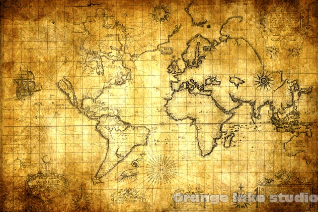 Free shipping old time marine world map golden fashion antique free shipping old time marine world map golden fashion antique vintage map of the world fabric gumiabroncs Images