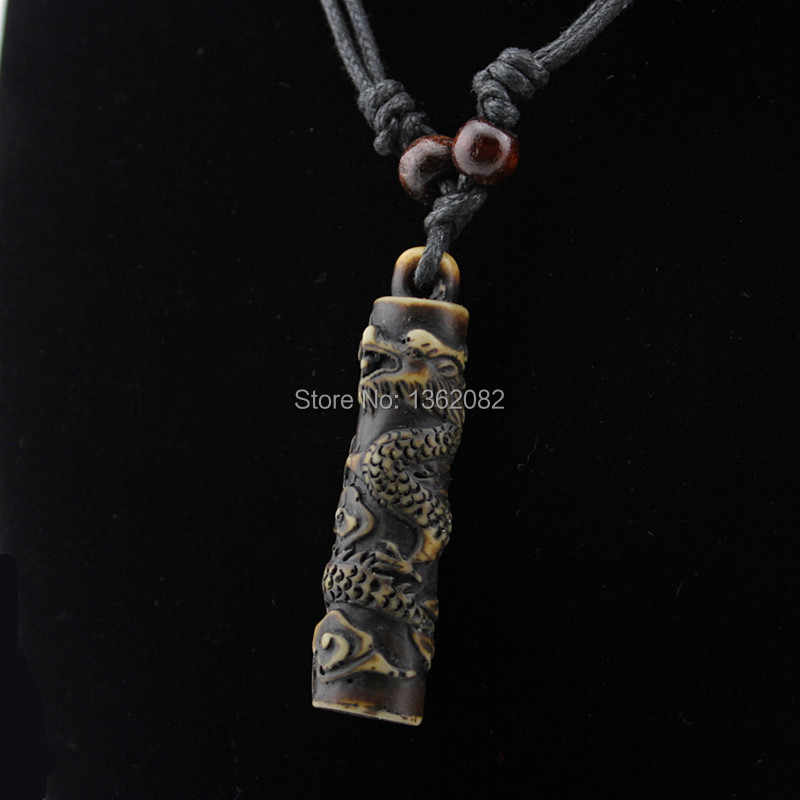 Simulation Bone Carving Totem Dragon Pendant Boy Men's Ethnic Wood Beads Necklace Amulet Lucky Gift MN112