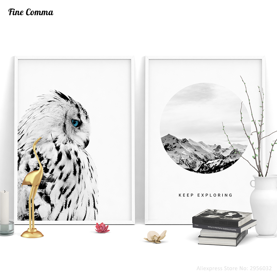 Posters and Prints Scandinavian Decor Owl Keep Exploring Mountain Poster Wall Picture for Living Room Wall Art Canvas Print