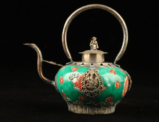 Exquisite Chinese old decorated porcelain Inlaid with Tibetan silver monkey teapot