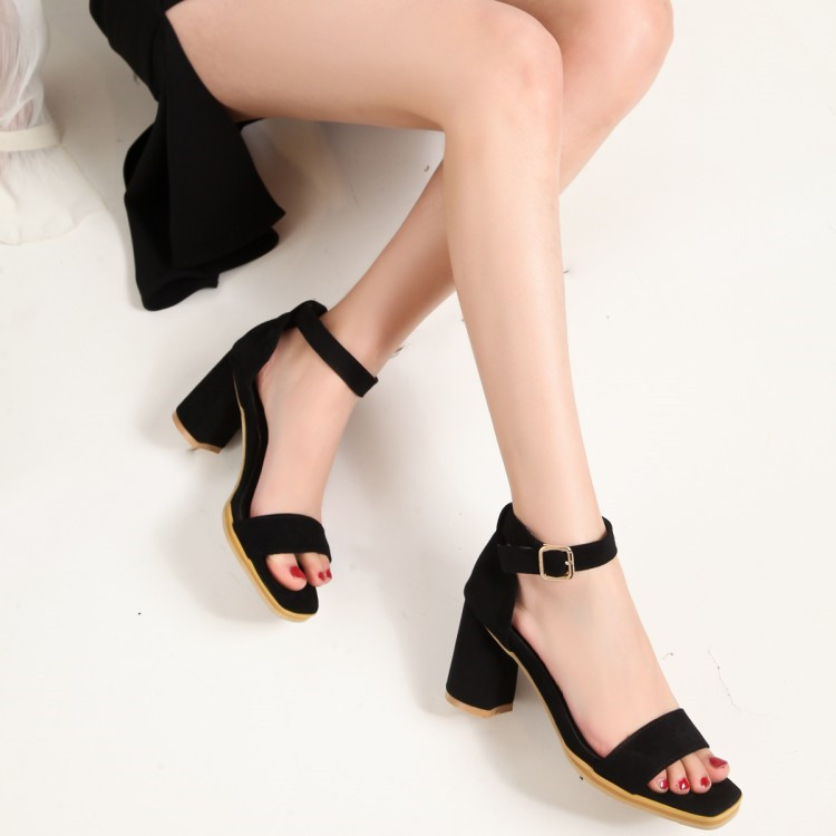 c8aaeeed621 US $23.8 30% OFF|PXELENA Faux Suede Sandals Women 2019 Summer Ankle Strap  Chunky Block Square High Heels Office Career Ladies Shoes Plus Size 43-in  ...