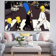 Simpsoning Abbey Road Барт Гомер Мардж холст картина печать гостиная домашний декор Современное украшение на стену, живопись маслом плакат художественное произведение