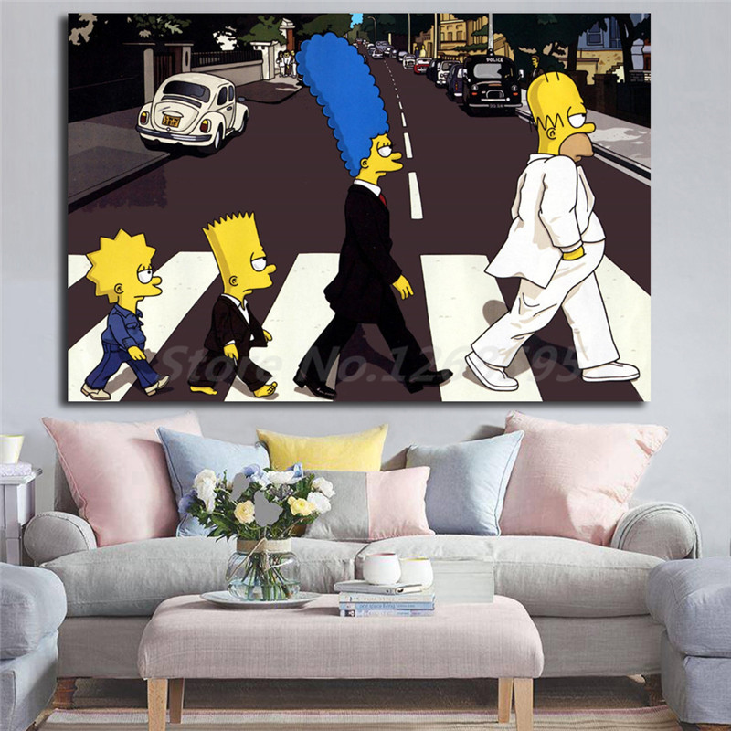 Simpsoning Abbey Road Bart Homer Marge Canvas Painting Print Living Room Home Decor Modern Wall Art Oil Painting Poster Artwork