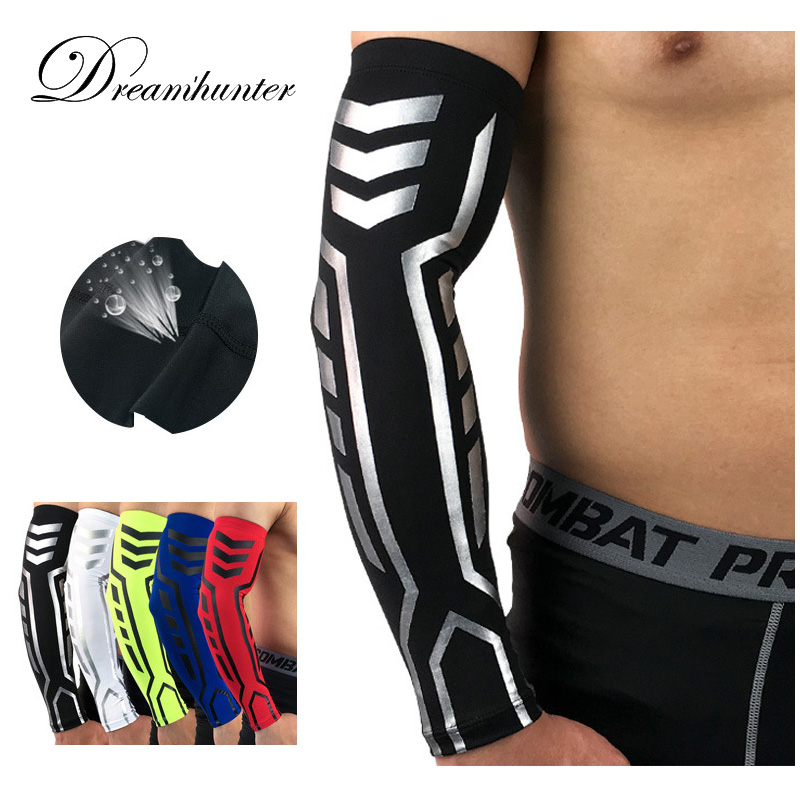 Elastic Compression Arm Sleeves Badminton Basketball For Sun Protection Arm Warmers Cover Quick Dry Armguards Cycling Sleeves arsuxeo compression sleeves arm warmer running sleeves cycling sun uv protection for outdoor sport hiking ciclismo 1 pair