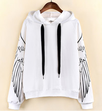 Newest Fashion Women Spring Autumn White Color Loose Hoodie Female Casual Printing Knitted Full Sleeved O-neck Hoodie Coat